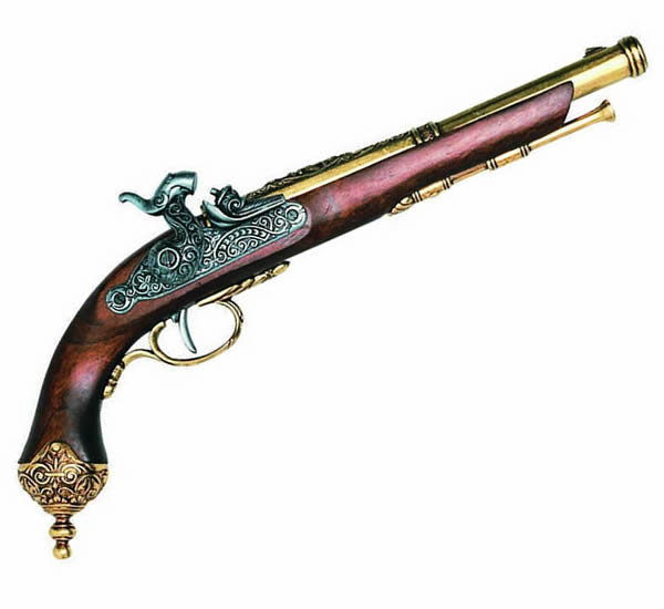 Italian Flintlock Pistol - Brass Trim