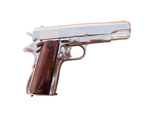 Automatic Pistol, Colt Caliber .45, M1911A1 - Nickled