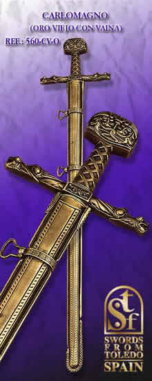 Carlomagno´s Sword, with Scabbard, old gold