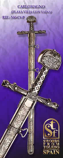 Carlomagno´s Sword, with Scabbard, old silver